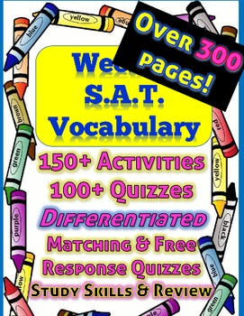 UPDATED***Full Year of Weekly SAT Vocabulary Activities, Review and Assessments