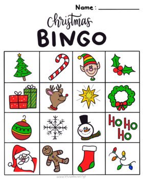 Full color Christmas Bingo-5 different cards!