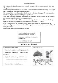 Full lesson plan on Fantastic Beasts (French ESL learners)