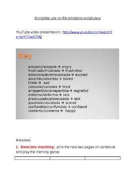 Full unit:  Spanish emotions vocabulary