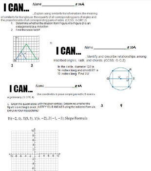 Geometry CFAs or I Cans for a Full-Year Course