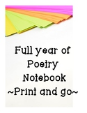 Full year of Poetry  Notebook ~Print and go~