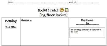 Fully Customizable Math Homework & Reading Log Template