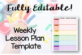 Fully EDITABLE Weekly Lesson Plan Template