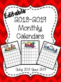 Fully Editable 2018-2019 school calendars (color and b/w)