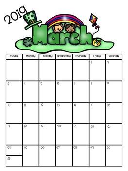 Fully Editable 2018-2019 school calendars (color and b/w)