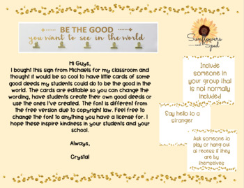 Fully Editable Be the Good Deed Cards