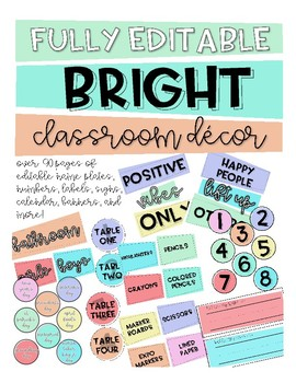 Fully Editable Bright Classroom Decor