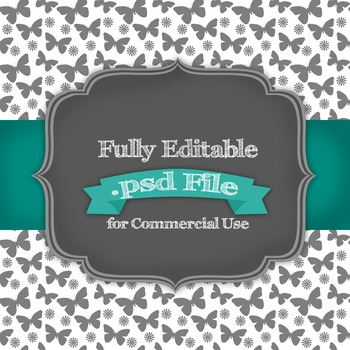 Fully Editable Butterfly Digital Paper .psd File for Comme