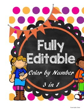 Summer Edition - Fully Editable Color by number (3 in 1)