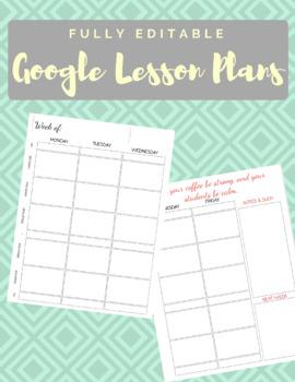 Fully Editable Google Weekly Planner