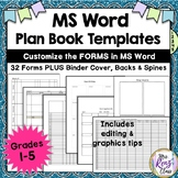 Teacher Plan Book Templates (FULLY Editable in MS Word) Create Your Own Binder