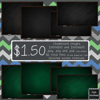 Fully Editable Green and Black Chalkboard Clipart (with chalk and eraser) (.psd)