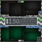 Fully Editable Green and Black Chalkboard Clipart (with ch
