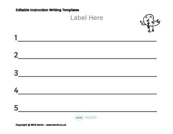 Fully Editable Instruction Writing Templates