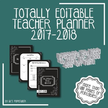 Fully Editable Printable 2017-2018 Teacher Binder: black/white chalkboard theme!