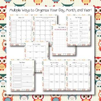 Fully Editable Printable 2017-2018 Teacher Binder with adorable owl theme!