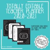 Fully Editable Printable 2018-2019 Teacher Binder: black/white chalkboard theme!