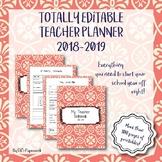 Fully Editable Printable 2018-2019 Teacher Binder: coral print theme!