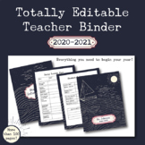 Fully Editable Printable 2018-2019 Teacher Binder: sailing/waves/ocean theme!