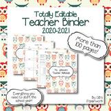 Fully Editable Printable 2019-2020 Teacher Binder with adorable owl theme!