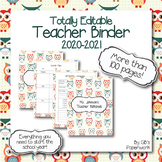 Fully Editable Printable 2020-2021 Teacher Binder with adorable owl theme!!