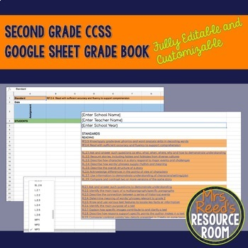 Editable and Customizable Second Grade CCSS Google Sheet Grade Book