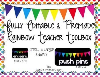 Fully Editable and Premade Rainbow Teacher Toolbox Labels