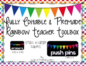 Fully Editable and Premade Rainbow Teacher Toolbox Labels