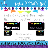 Teacher Toolbox Labels - BLACK & {Editable}