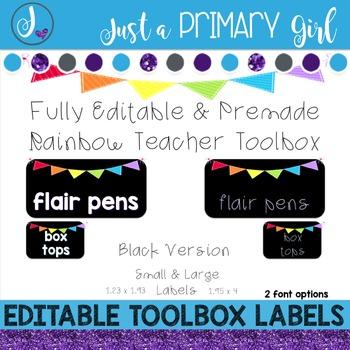 Teacher Toolbox Labels - BLACK & {Editable}