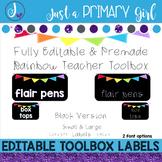 Teacher Toolbox Labels - BLACK & Editable