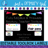 Teacher Toolbox Labels  - WHITE & {Editable}