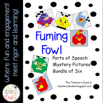 Set of Six Fuming Fowl Mystery Pictures Parts of Speech
