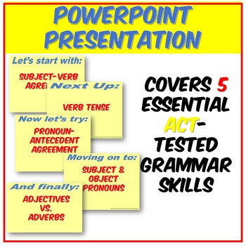Fun ACT English Grammar PPT: Agreement, Pronouns, Verbs, Adjectives and Adverbs