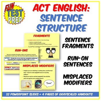 Fun ACT English Sentence Structure PPT: Run-Ons, Fragments, and Modifiers