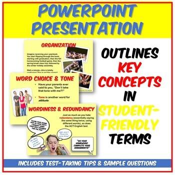 Fun ACT English Style & Rhetoric PPT: Revising, Organizing, Redundancy, & Tone