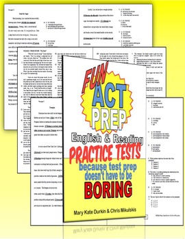 Fun ACT Prep English & Reading Practice Tests 2nd Ed. Workbooks- CLASS SET of 30