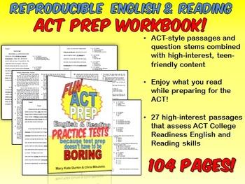 Fun ACT Prep: English & Reading BOTH Workbooks- CLASS SET 30 PAIRS