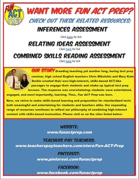 Fun ACT Reading Basics Assessment: Main Idea, Detail, and Word Meanings