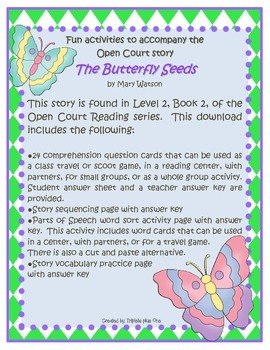Fun Activities to accompany the Open Court Story The Butterfly Seeds