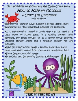 Fun Activities to accompany the Open Court story How to Hide an Octopus