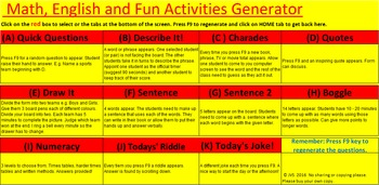 Fun Activity Generator - Math, English, Puzzle - All in On