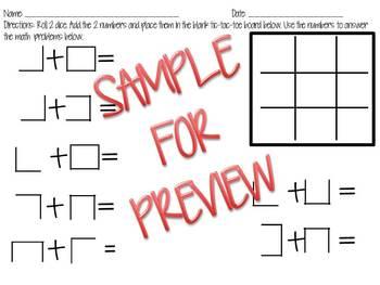 Fun Addition Tic-Tac-Toe Math Center
