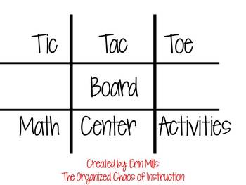Fun Addition Tic-Tac-Toe Math Center