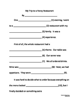 Fun Adjective Story phrasal template word game