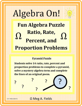 Fun Algebra Puzzle - Solving Ratio, Rate, Percent and Proportion Problems