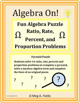 Fun Algebra Puzzle - Solving Ratio, Rate, Percent and Prop