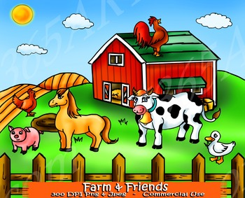 Farm Animal Clipart Set Including Farm and Backdrop
