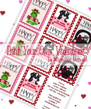 Fun Animals (Racoon, Skunk & Dragon) Printable Childrens Valentine Cards d1